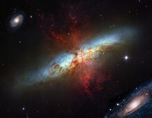 Galaxies And Nebula. (Made Using Some Elements From Public Domain NASA Images).