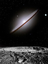 Lenticular Galaxy - Intergalactic Space - (Made Using Some Elements From Public Domain NASA Images).