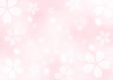 桜吹雪 春のイメージイラスト 背景素材(桜色)