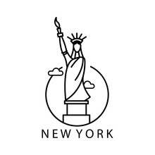 Statue Of Liberty Logo Simple Outline Illustration Circle Design Vector