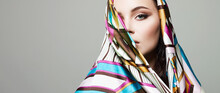 Beautiful Woman In Color Flower Veil. Beauty Girl In Colorful Hijab