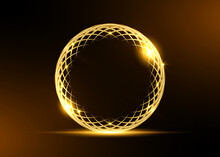 Golden Ring Frame Of Flower Of Life Symbol. Geometrical Figure, Composed Of Overlapping Gold Circles. Luxury Business Globe Logo Design, Vector Isolated On Black Background