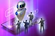 Leinwandbild Motiv Concept of chat bot in modern business communication