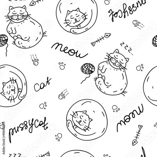 Seamless Doodle pattern with cats. Children's hand-drawn background. Black outline on a white background. Vector Illustration. Ideal for textile design, wrapping paper