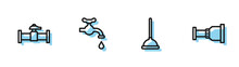 Set Line Rubber Plunger, Industry Pipe And Valve, Water Tap And Pipe Adapter Icon. Vector.