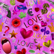 Leinwandbild Motiv Seamless pattern valentine's day background. 3D rendering, illustration. wrapping. A holiday of love. Heart, lips, symbol of love. Glamor. On pink background