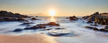 Scenic Sunrise At Sarti Beach, Halkidiki, Sithonia, Greece, Europe; Golden Sunrise Over The Mt. Athos; Dramatic Morning Seascape Of The Aegean Sea; View Of The Fantastic Rocky Shore