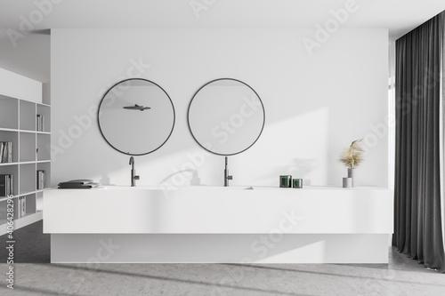 Obraz Double sink in white master bathroom interior - fototapety do salonu