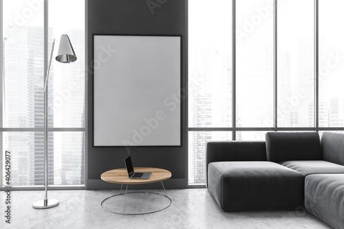 Fotografia, Obraz Mockup canvas in dark living room with black sofa on marble floor