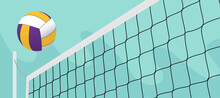 Colorful Volleyball Ball Crossing The Net In The Open Field