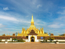 Phra-Thatluang Stupa In Vientiane Laos