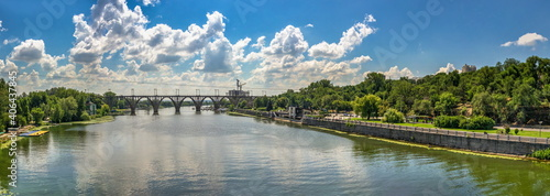 Canvas Print Dnieper river and  embankment of Dnipro in Ukraine