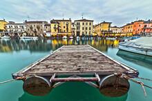 Peschiera Del Garda Pier And Lake Canal At Blue Hour, Verona, Italy