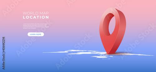 Fototapety, obrazy: Navigator 3d pin location checking on world map background. Locator position point. Vector art illustration