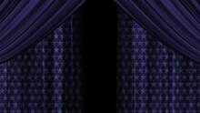 Curtains With A Star Pattern On The Fabric. Blue Flapping Canvas. Opening Of Curtains, Wings. Isolate. Transparent Background. Alpha Channel