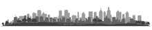 City Silhouette, Cityscapes, Town Panorama - Stock Vector