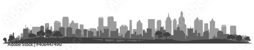 Valokuva City silhouette, cityscapes, town panorama - stock vector