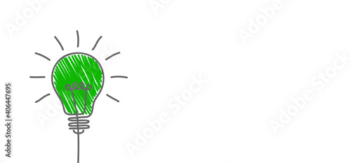 Fotografija Green light bulb, eco-friendly business, creative bulb sign, corporate social re