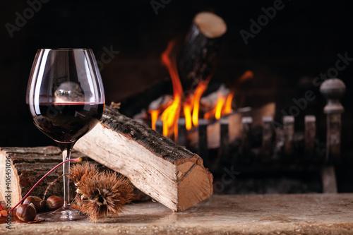 bicchiere, vino, rosso, camino, fuoco, legno, atmosfera Fototapete