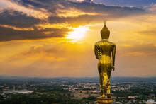Behind Buddha Statue Before Sunset Time At Wat Phra That Kao Noi Nan, Thailand