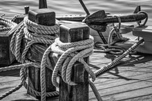 Black And White Sailboat Rigging, Ropes, And Anchor.