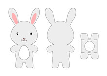 Cute Die Cut Rabbit Chocolate Egg Holder Template. Retail Paper Box For The Easter Egg. Printable Color Scheme. Laser Cutting Vector Template. Isolated Vector Packaging Design Illustration.