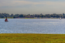 The Sun Glistens On The Water Of Rutland Water Reservoir In Summertime