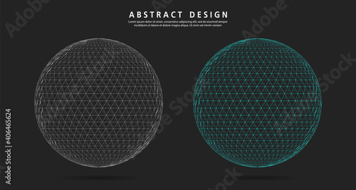 Foto Abstract set circle 3d blue Polygon on dark background