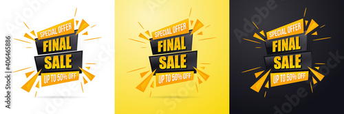 Obraz na plátně Sale big final discounts and great deals banner vector