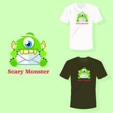 Scary Green Monster Sitting With One Eye Long Teeth And Ears Biting Mail T Shirt Design