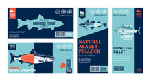 Vector Fish Horizontal And Vertical Labels. Salmon, Trout, Tuna, And Alaska Pollock Fish Illustrations. Modern Style Seafood Labels