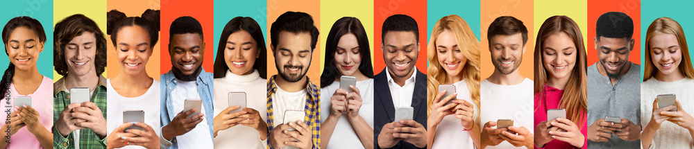 Fototapeta Young People Using Smartphones Texting On Different Colorful Backgrounds, Collage