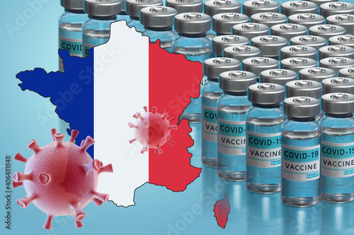 France to launch COVID-19 vaccination campaign. Coronavirus vaccine vials, Covid 19 cells, map and flag of France on blue background. Fighting the epidemic. Research and creation of a vaccine.