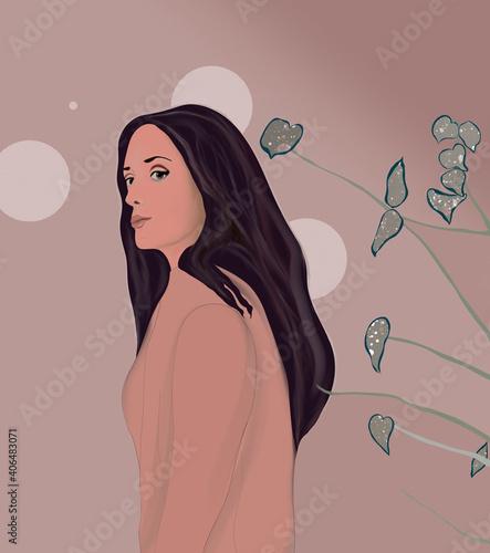 Fototapeta Sylwetka młodej kobiety o czarnych włosach wpatrującej się w dal na tle delikatnych kwiatów i figur geometrycznych obraz