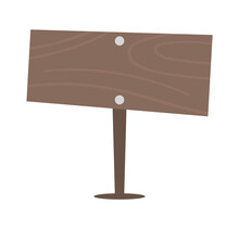 Vector Flat Wooden Road Direction Sign Icon. Wood Pointer Isolated On White Background. Garden Information Plate Or Signboard Illustration. Wooden Board Picture.