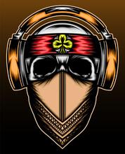 Mafia Skull With Headphone