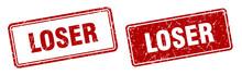Loser Stamp Set. Loser Square Grunge Sign