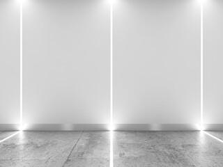 Abstract interior with LED stripes illumination, 3d