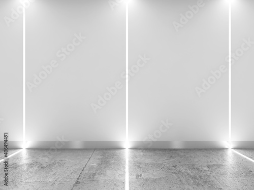 Abstract interior with LED stripes illumination, 3d