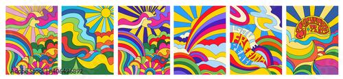 Obraz Set of 6 brightly colored psychedelic landscapes - fototapety do salonu