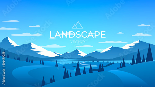 Winter mountains landscape. Nature ice background. Vector