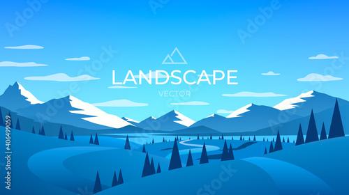 Obraz Winter mountains landscape. Nature ice background. Vector - fototapety do salonu