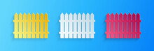 Paper Cut Fence Wooden Icon Isolated On Blue Background. Garden Fence Sign. Paper Art Style. Vector.