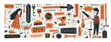 Consumers In DIY Store. Banner Template. Vector Illustration Of Instruments For Home Renovation And Shop Departments In A Flat Style With Hand Drawn Lettering. Perfect For Hardware Store Ads