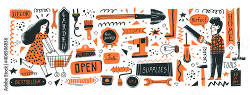 Fototapeta Consumers in DIY store. Banner template. Vector illustration of instruments for home renovation and shop departments in a flat style with hand drawn lettering. Perfect for hardware store ads obraz