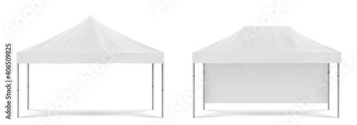 White folding promotion tent, outdoor marquee transparent white background illustration