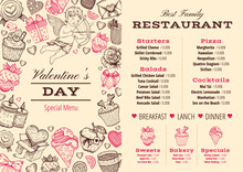 Valentine Day Menu. Dinner Background. Love Restaurant Food Menu. Sketch Vector Lunch Breakfast Card Design. Template Vintage Poster With Heart Rose. Romantic Pink Frame Invitation Flyer