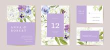 Wedding Violet Pansy Floral Save The Date Set. Vector Purple Spring Flowers Boho Invitation Card