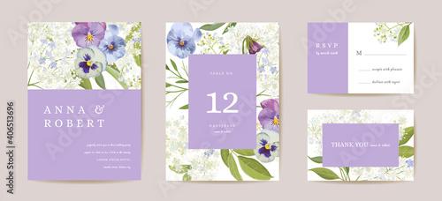 Slika na platnu Wedding violet pansy floral Save the Date set