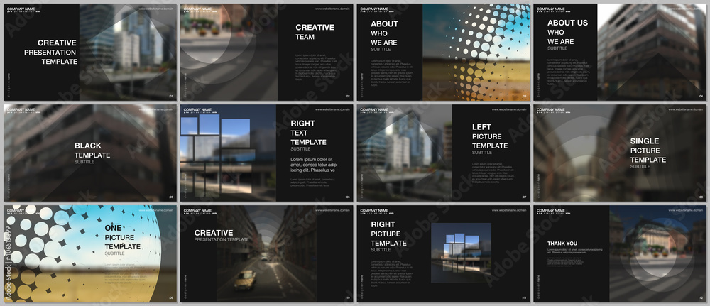 Presentation design vector templates, multipurpose template for presentation slide, flyer, brochure cover design, infographic report presentation. Corporate business concept with abstract ackgrounds. - obrazy, fototapety, plakaty